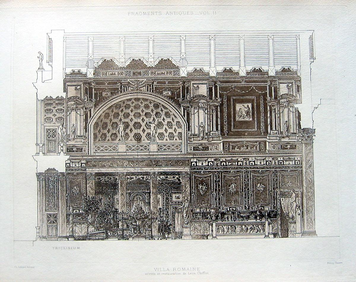 72 ancient roman villa 1905 interior design detail for Architecture romaine