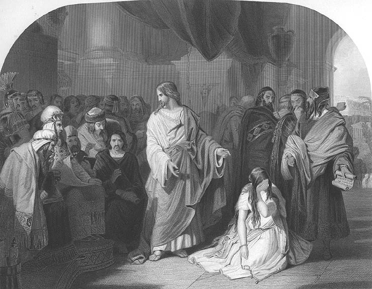 Details about JESUS CHRIST & WOMAN WHO CHEATED ADULTERY ~ Old 1856 BIBLE  Art Print Engraving