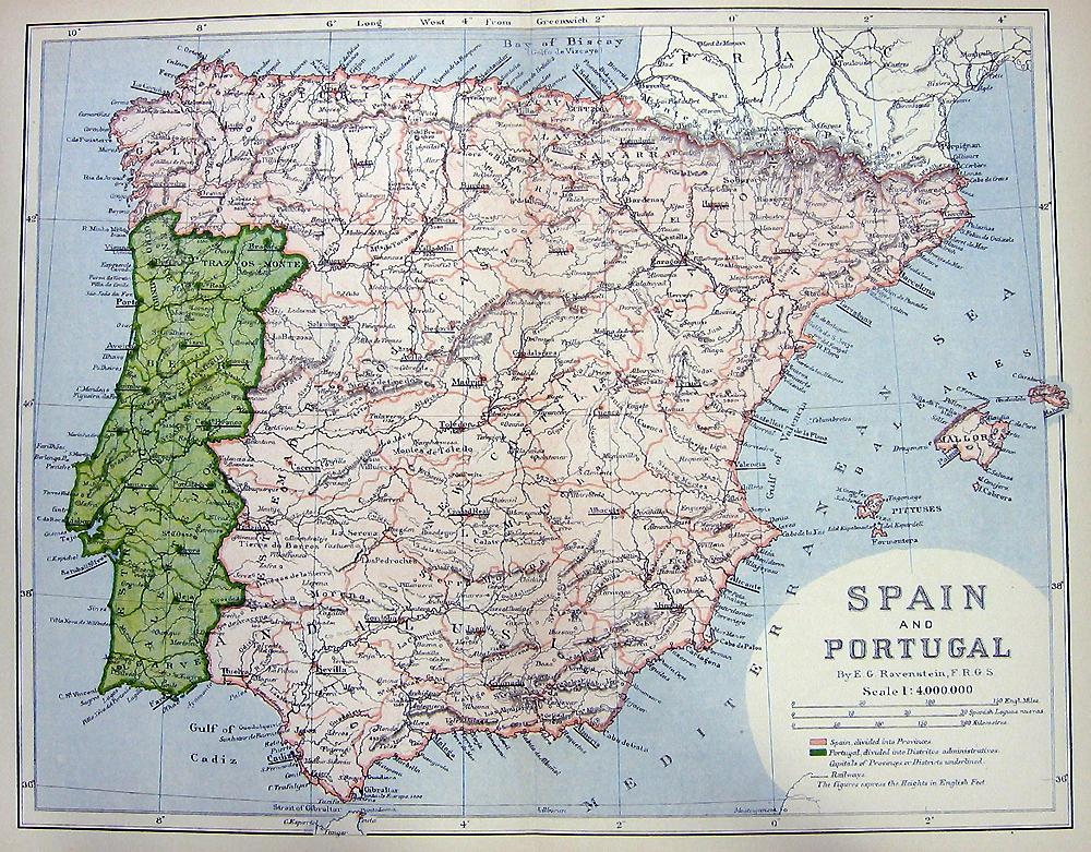 Map Of Southern Spain And Portugal.Spain Portugal Old 1882 Color Engraving Map Print Ebay
