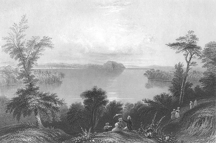 Saratoga lake ny old antique 1838 landscape art print for Saratoga lake fishing