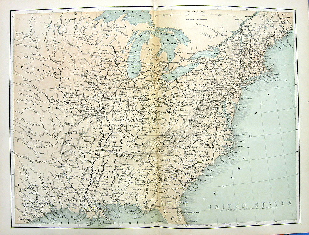Details about 1880 Engraved Color Print MAP OF EAST COAST EASTERN UNITED  STATES 13 COLONIES