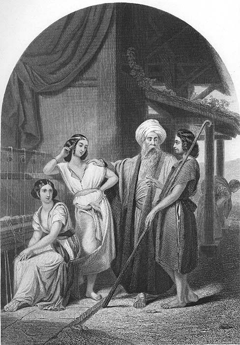 JACOB IN HOUSE LABAN Beautiful Daughters Girls ~ 1860 ...