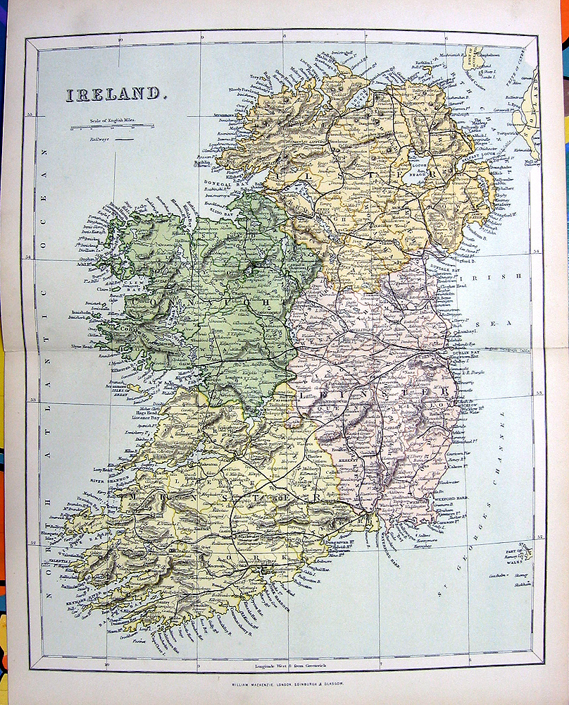 Rare Old 1876 Color Engraving Art Print ~ IRELAND MAP